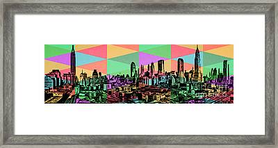 New York City Skyline Rainbow Framed Print by Edward Fielding
