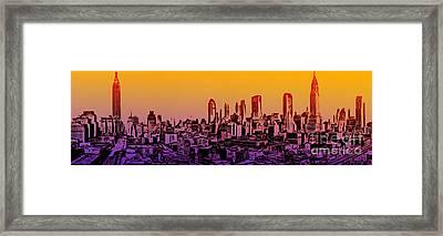 New York City Skyline Sunset Painting Framed Print by Edward Fielding