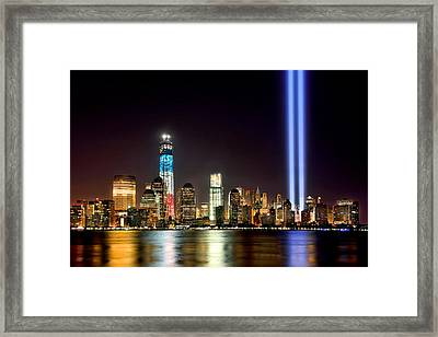 New York City Skyline Tribute In Lights And Lower Manhattan At Night Nyc Framed Print by Jon Holiday