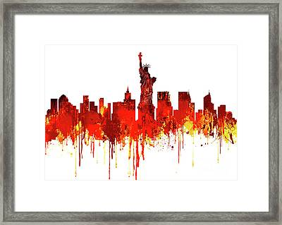 New York City Skyline - Watercolour Red Framed Print by Prar Kulasekara