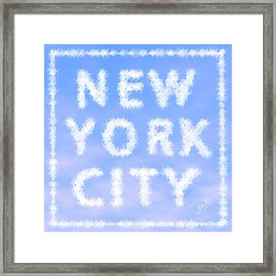 New York City Skywriting Typography Framed Print by Georgeta Blanaru