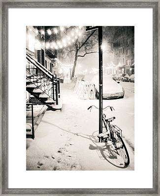 New York City - Snow Framed Print