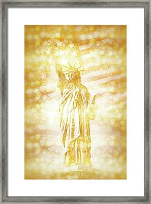 New York City Statue Of Liberty With American Banner - Golden Painting Framed Print