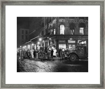 New York City Street At Night, Circa Framed Print by Everett