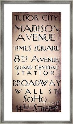 New York City Street Sign Framed Print by Mindy Sommers