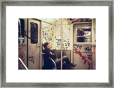 New York City Subway. A Lone Passenger Framed Print by Everett
