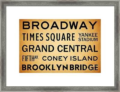 New York City Subway Sign Typography Art 1 Framed Print