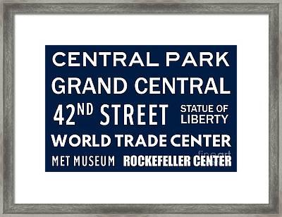 New York City Subway Sign Typography Art 11 Framed Print