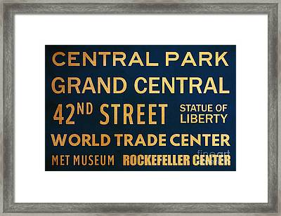 New York City Subway Sign Typography Art 12 Framed Print