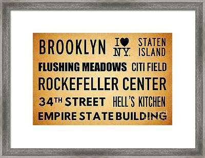 New York City Subway Sign Typography Art 13 Framed Print