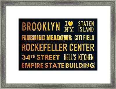 New York City Subway Sign Typography Art 14 Framed Print