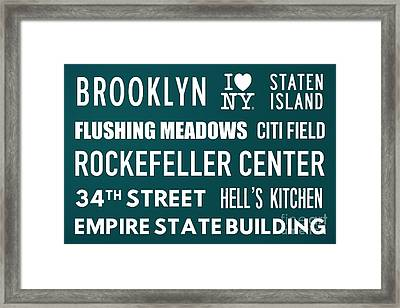 New York City Subway Sign Typography Art 15 Framed Print