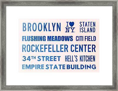 New York City Subway Sign Typography Art 17 Framed Print