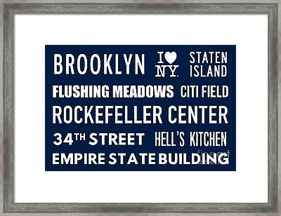 New York City Subway Sign Typography Art 18 Framed Print