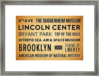 New York City Subway Sign Typography Art 19 Framed Print by Nishanth Gopinathan