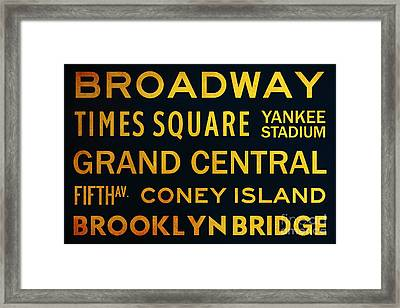 New York City Subway Sign Typography Art 2 Framed Print