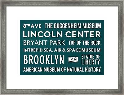 New York City Subway Sign Typography Art 21 Framed Print by Nishanth Gopinathan
