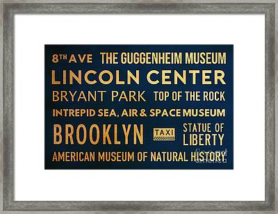 New York City Subway Sign Typography Art 22 Framed Print by Nishanth Gopinathan