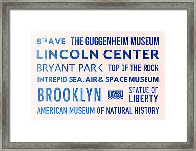 New York City Subway Sign Typography Art 23 Framed Print by Nishanth Gopinathan
