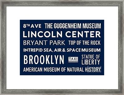 New York City Subway Sign Typography Art 24 Framed Print by Nishanth Gopinathan