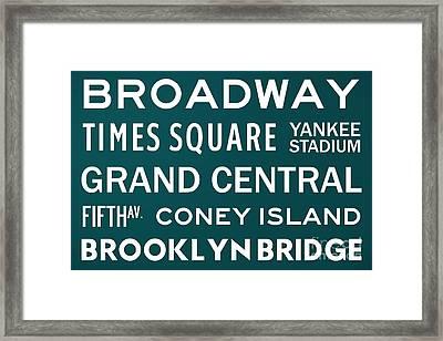 New York City Subway Sign Typography Art 3 Framed Print