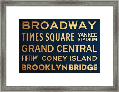 New York City Subway Sign Typography Art 4 Framed Print