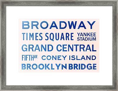 New York City Subway Sign Typography Art 5 Framed Print