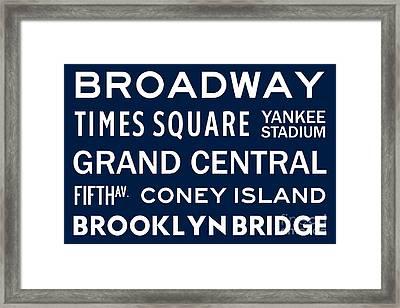 New York City Subway Sign Typography Art 6 Framed Print