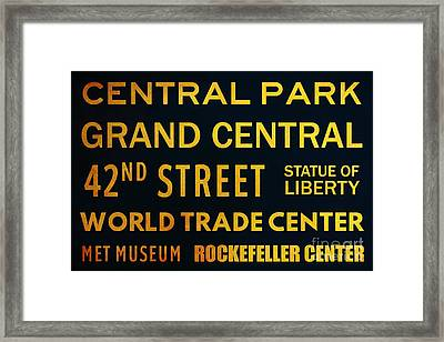 New York City Subway Sign Typography Art 8 Framed Print