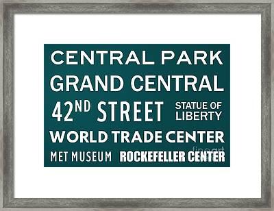 New York City Subway Sign Typography Art 9 Framed Print
