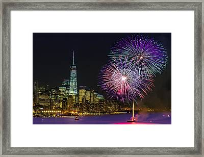 New York City Summer Fireworks Framed Print