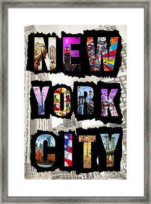 New York City Text 2 Framed Print by Az Jackson