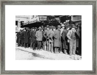 New York City, The Bowery, Men Waiting Framed Print