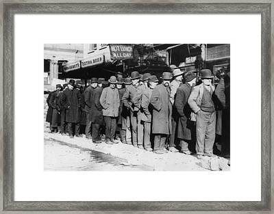 New York City, The Bowery, Men Waiting Framed Print