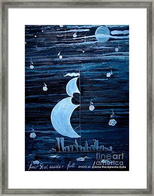 New York City Under Full Moon Framed Print