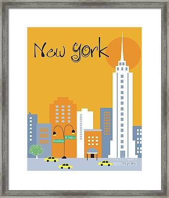 New York City Vertical Skyline - Empire State At Dawn Framed Print by Karen Young