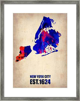 New York City Watercolor Map 1 Framed Print by Naxart Studio