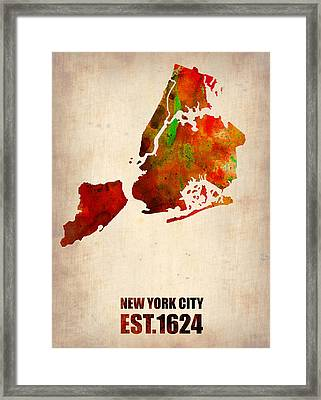 New York City Watercolor Map 2 Framed Print by Naxart Studio