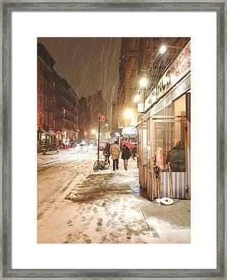 New York City - Winter Night - Snow In The City Framed Print