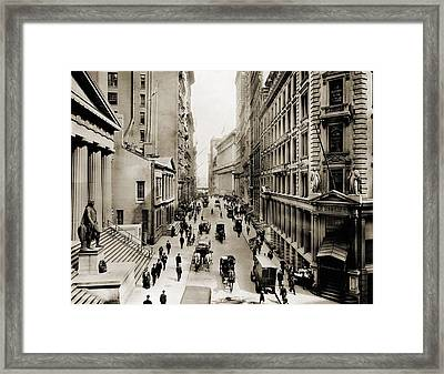 New York Citys Wall Street, Looking Framed Print