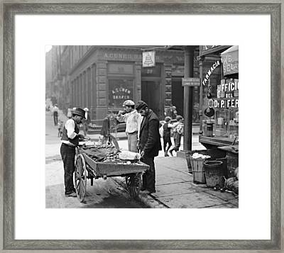 New York Clam Seller In Mulberry Bend 1900 Framed Print by Padre Art