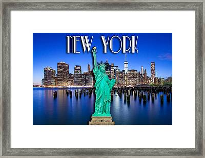 New York Classic Skyline With Statue Of Liberty Framed Print by Az Jackson