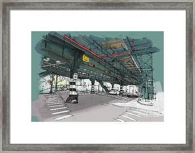 New York Drawing. Mta Subway. Simpson St. Handmade Sketch Framed Print by Pablo Franchi