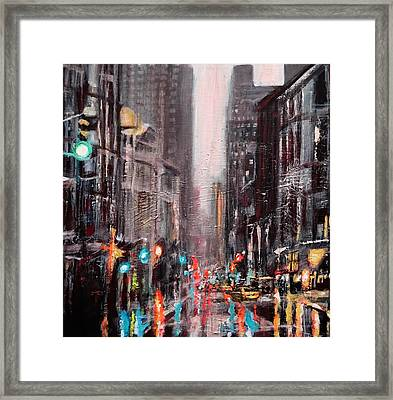 New York Dusk Rain Framed Print by Paul Mitchell