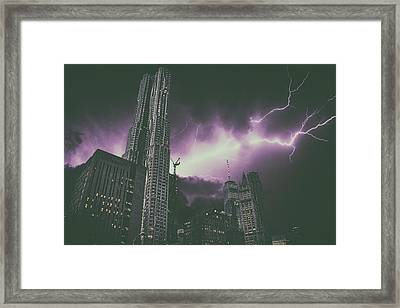 New York Electrical Storm Framed Print
