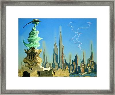 New York Fantasy Skyline - Modern Artwork Framed Print
