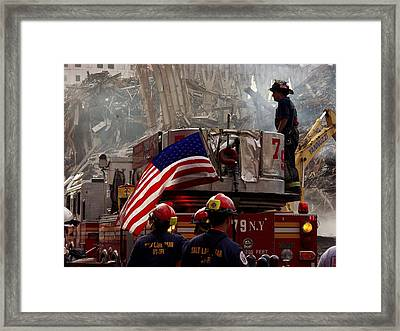 New York Firefighters And Salt Lake Framed Print