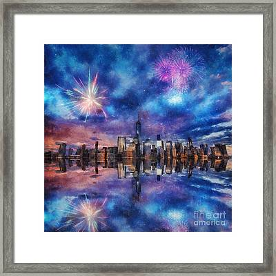 Framed Print featuring the photograph New York Fireworks by Ian Mitchell