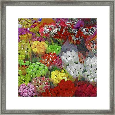 Framed Print featuring the photograph New York Flower Market by Michael Flood