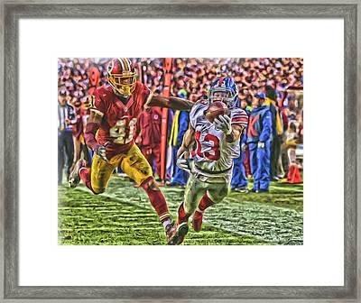 New York Giants Odell Beckham Jr Oil Art Framed Print by Joe Hamilton